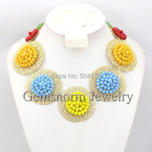 Latest New African Wedding Beads Unique Chunky Statment Necklace Jewelry Brand Designer Jewelry Free Shipping GS944