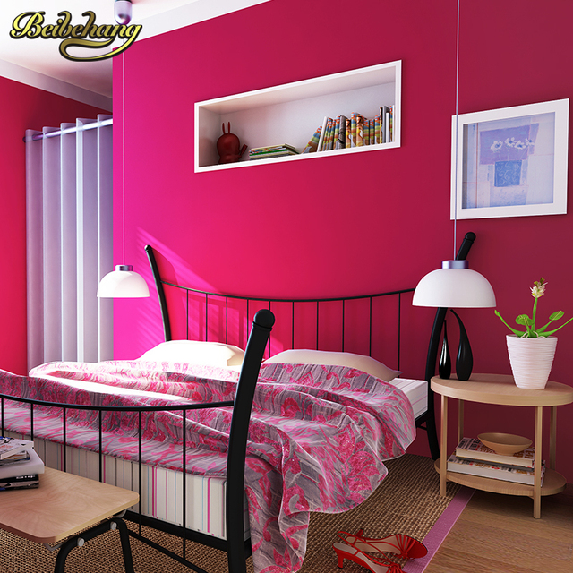 beibehang wall paper paved environmental non woven wallpaper red ...