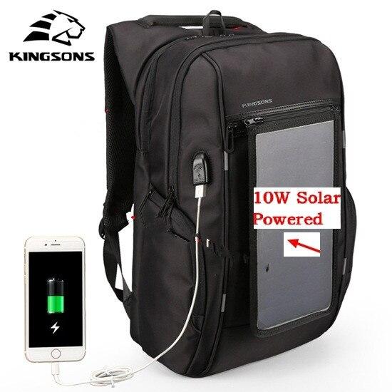 2018 new Kingsons Men Backpack 10W Solar Powered Usb Charging Anti-Theft 15.6'' Laptop for Men Laptop Travel bag KS3140W-I недорго, оригинальная цена