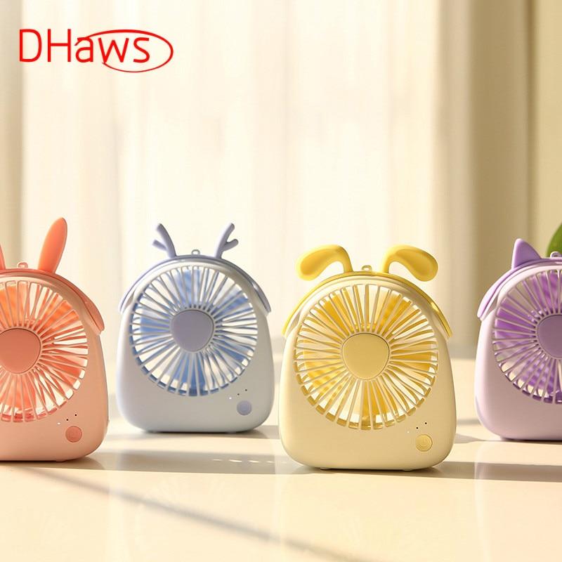 Dhaws Neue Mini Usb Aufladbare Luftkühlung Fan Mit Lanyard Schreibtisch Mini Fan Dual Verwenden Hause Student Tragbare Desktop Büro Fan
