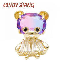 CINDY XIANG 2 Colors Choose Rainbow Cubic Zirconia Bear Collar Brooch Women And Men Unisex Suit Brooches Small Cute Animal Pin