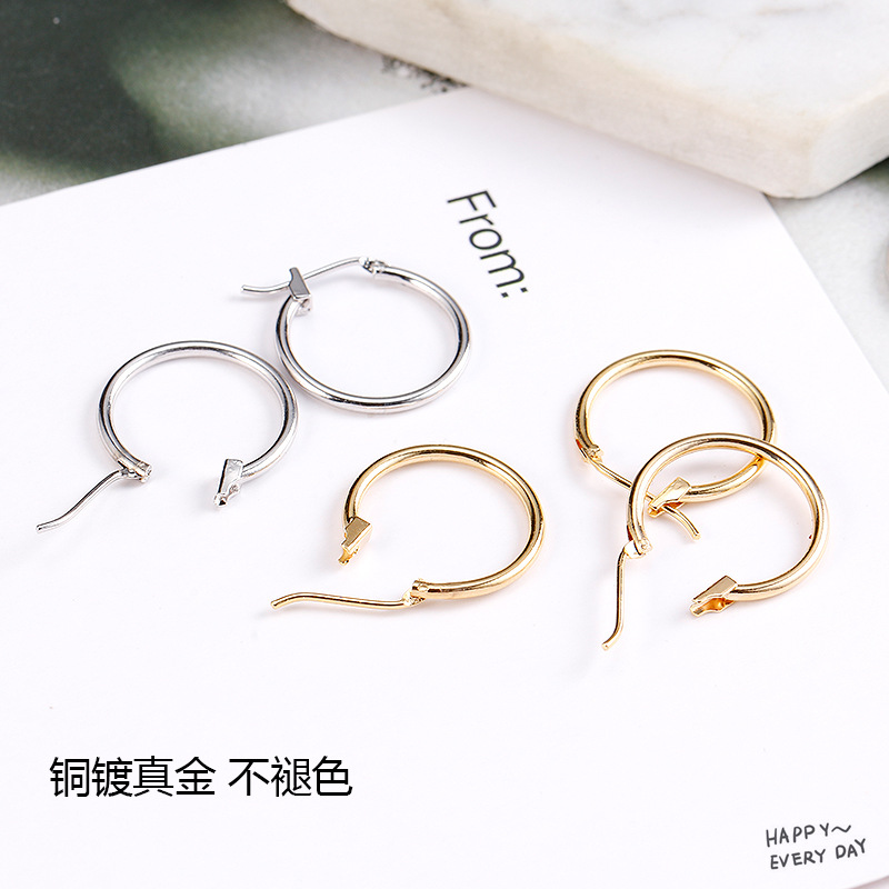 10 -piece 18mm 24 -carat Gold Colour Coated Brass Grinding Earrings Hoops High Quality Diy Jewelry Earrings Accessories