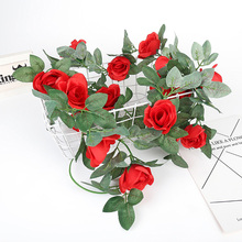Artificial Rose Flower Fake Hanging Decorative Roses Vine Plants Leaves Artificials Garland Flowers Wedding Wall Decoration