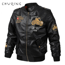 CHUQING Spring and Autumn New Mens Motorcycle Leather Loose Fashion Jacket Trend