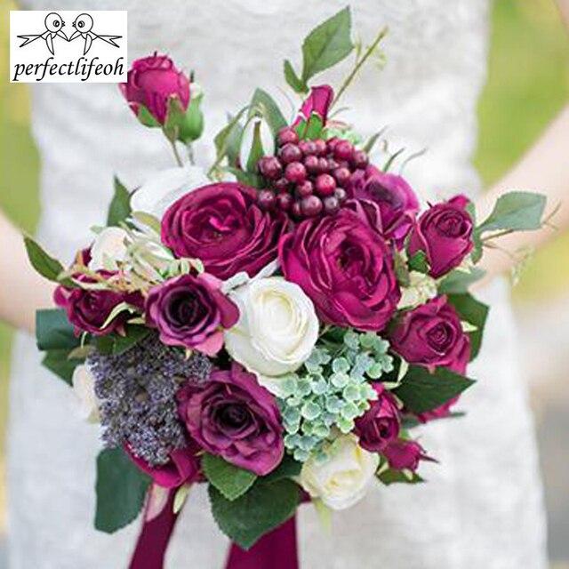 Perfectlifeoh Lila Rot Hochzeit Kunstliche Hand Blume Braut Bouquet