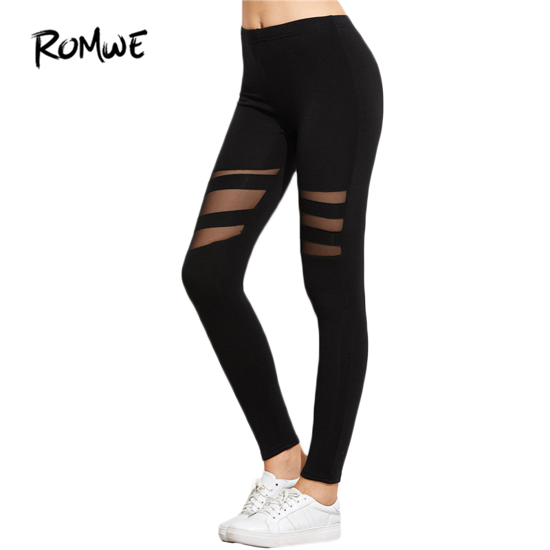 Romwe Black Mesh Insert Casual Fitness Leggings Workout -7632