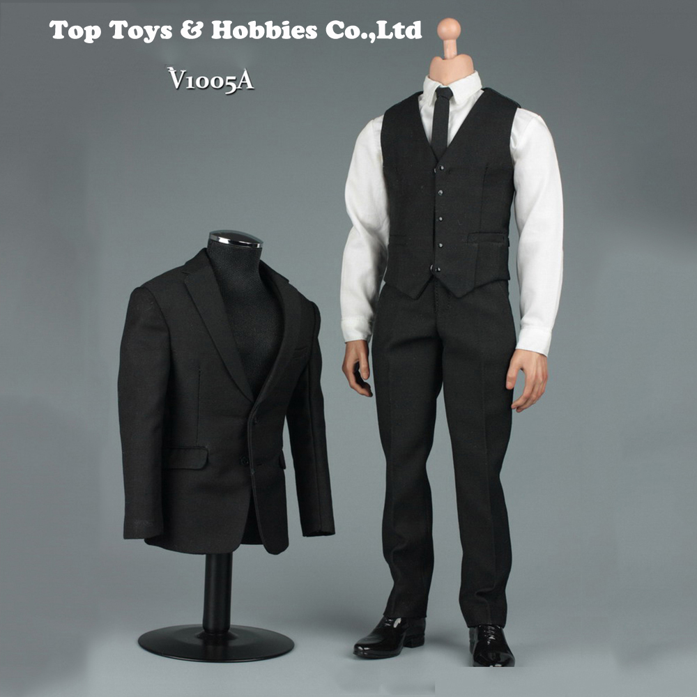 1/6 Black Men Gentleman Suit Clothes Set F/12 Male Action Figure