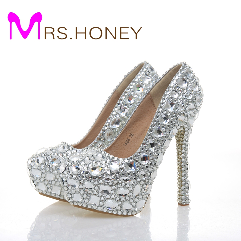 Fashion Woman Hot Selling Crystal Diamond Wedding Shoes High-heeled Silver Bridal Shoes Sexy Closed Toe Nightclub Shoes 2017 new fashion spring ladies pointed toe shoes woman flats crystal diamond silver wedding shoes for bridal plus size hot sale