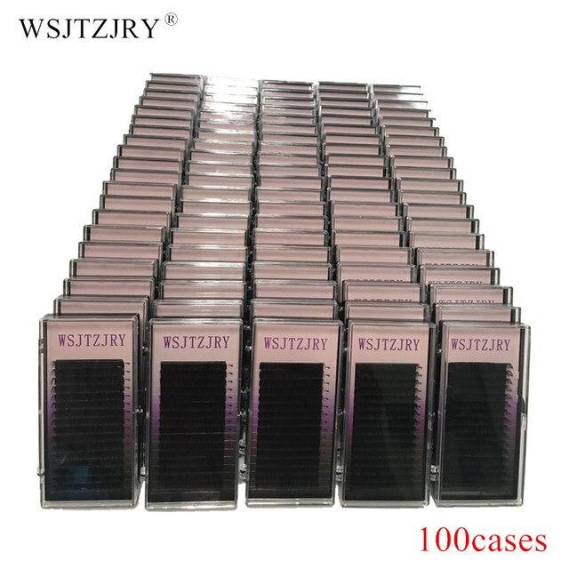 Набор чехлов WSJTZJRY 100, 16 рядов, высококачественные норковые ресницы для наращивания, индивидуальные ресницы, натуральные ресницы, накладные ресницы