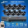 1080N HDMI H.264 8CH DVR Sistema de Vigilancia de Vídeo de Seguridad + 8 unids 720 P 1800TVL HD Outdoor Weatherproof IR AHD CCTV Kit de la Cámara