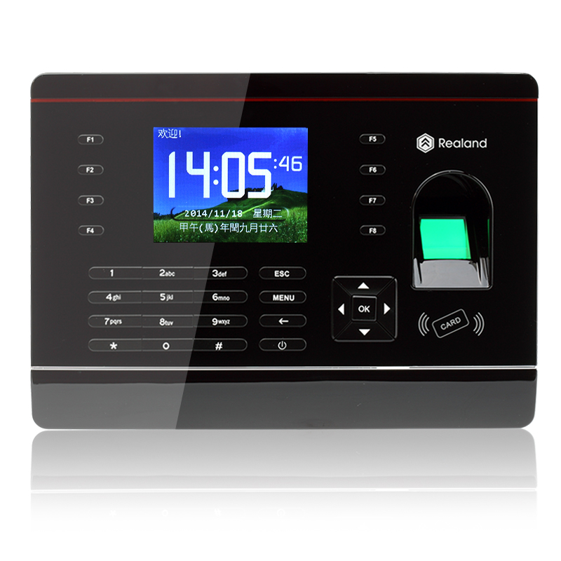 Realand tcp/ip 125 Khz RFID carte et empreinte digitale temps d'assistance Support espagnol et aribique langue fréquentation Terminal