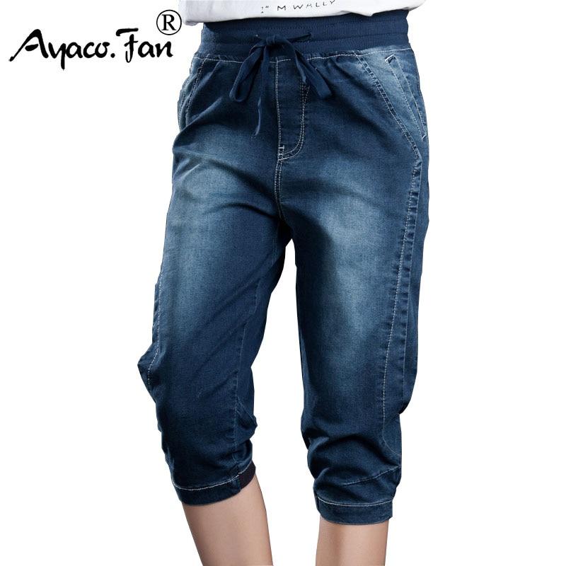 Plus Size 5XL Women Jeans Elasticity Jeans Woman Large Loose Capri Boyfriend Jeans For Women Feminino Vintage Blue Harem Pants