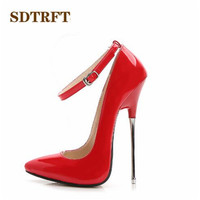 SDTRFT Plus:35 44 spring autumn New fashion zapatos mujer 16cm Metal thin high heels wedding shoes woman Buckle Cosplay pump