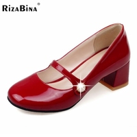 Ladies Patent Leather Shoes Fashion Ankle Square Heels Toe Shoes Women Stiletto Dress Pumps Brand Footwear