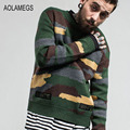 Aolamegs Camouflage Sweater Mens Autumn Winter Camo Knitted Sweater Fashion Streetwear Military Style Knitting Sweter Hombre