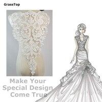 High-end Ślubne Gaza Hafty Koronki Aplikacja Kwiat Handmade DIY Ubrania Materiał Akcesoria Tkaniny Dekoracyjne Tkaniny Biały