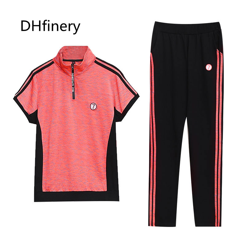 DHfinery women two piece set summer short sleeved t shirt and trouser plus size M 4XL