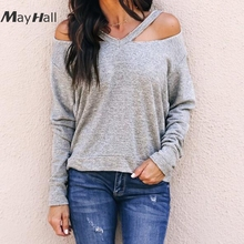 MayHall Cold Shoulder Casual Sweatshirts Women Autumn Long Sleeve Pullover Solid  moletom feminino MH367