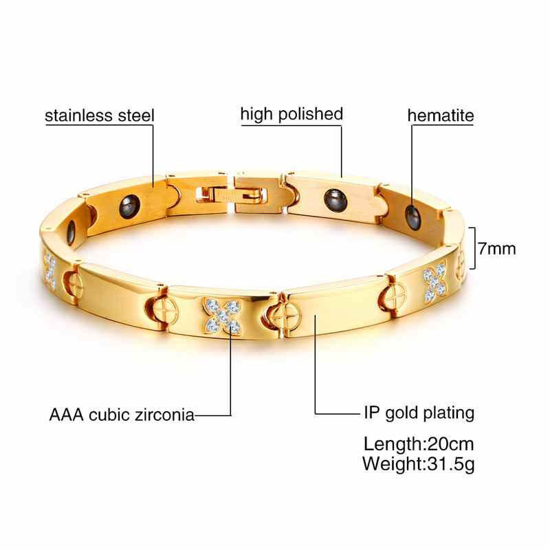 Cool Magnetic Bracelet Hematite Stone Beads Therapy Health Care Stainless Steel Magnet Bracelets Bangle Women Jewelry