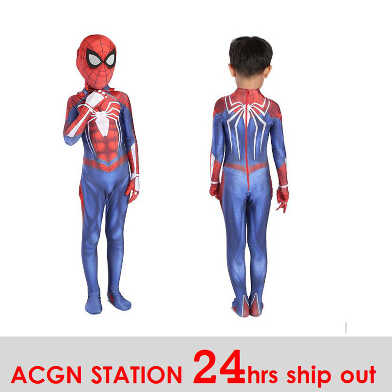 Kid Spiderman Cosplay Costume 3D Print Avengers Spiderman Anime Full Bodysuit for Halloween party boy costummes back to school