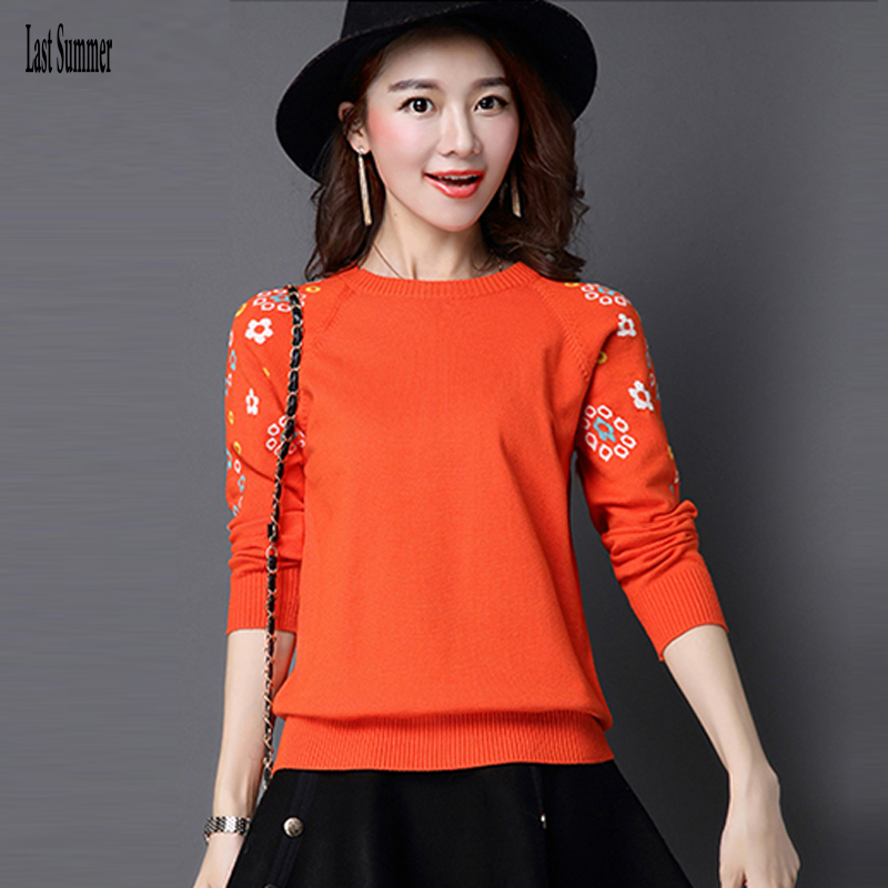 New  Fashion 2020 Women Autumn Winter  Embroidery Flower Sweater Pullovers Casual Warm Female Knitted Sweaters Pullover  Lady