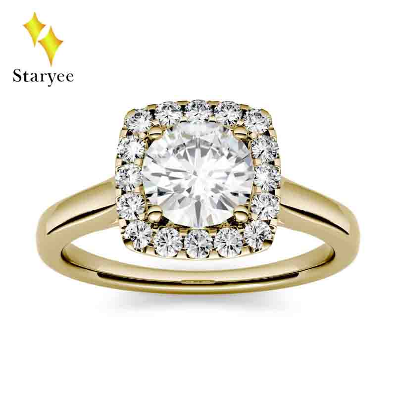 Pure 14K Solid White Gold Moissanite Ring 1.0ct 6.5mm GH Color Round Engagement&Wedding Moissanite Diamond Halo Ring for Women punk style pure color hollow out ring for women