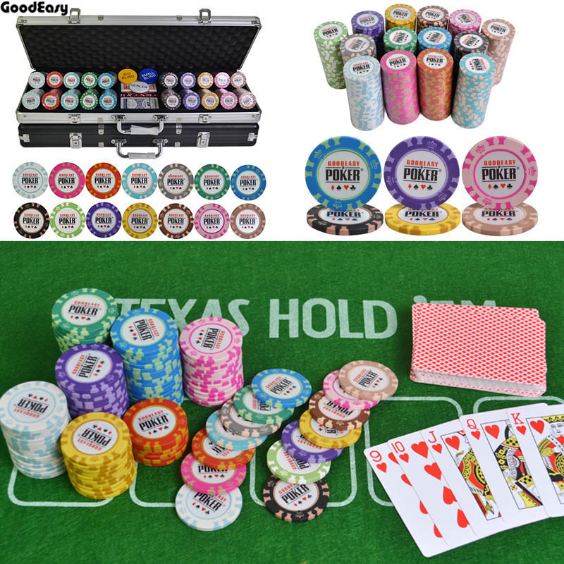 100200300400500PCSSet Casino Crown POKER Poker Chips Set Texas Hold'em Baccarat Chips With Aluminum Suitcase & Table Cloth