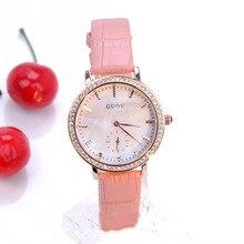 Cuarzo de la marca de 2 Pin Simple Relojes 30 M Impermeables de Las Señoras de Cuero Genuino Elegante Del Diamante Con El Calendario Al Por Mayor Fábrica de Relojes