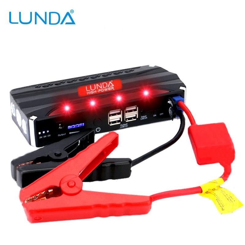 Prix pour LUNDA 12 V Démarreur Voiture De Saut 4USB Puissance Banque 600A Pic Auto Batterie Portable D'urgence Chargeur pour L'essence et Diesel
