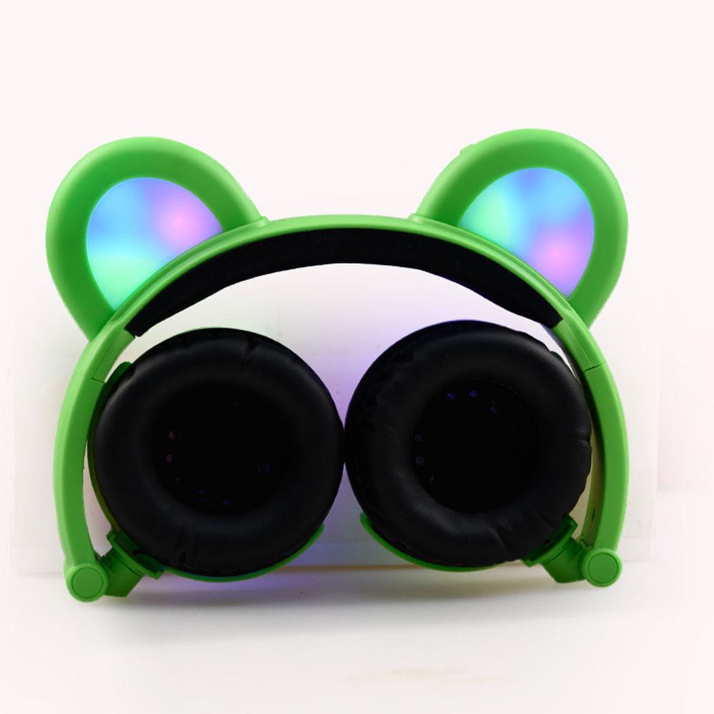 Bear Ear Headphones LED Headphone Bear Earphone Foldable Flashing Glowing Headset Gaming Earphones for Adult Children