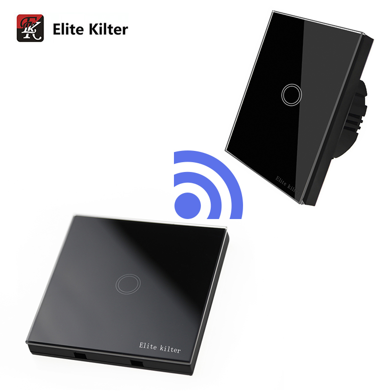 Elite Kilter Luxury Crystal Glass Wall Touch Switch Normal 1 Gang With 1 Gang Stick Touch Switch EU/UK Standard Sensor Switch
