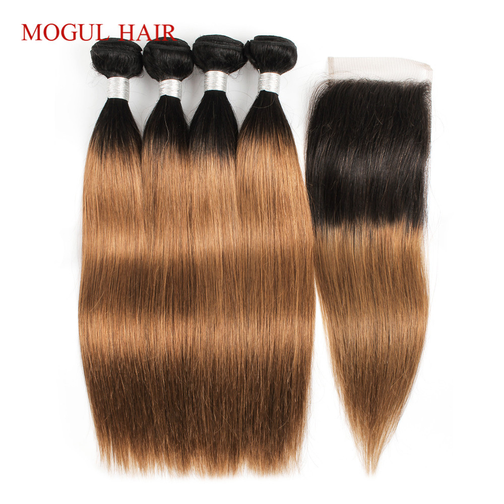MOGUL HAIR T 1B 30 Ombre Bundles with Closure Ombre Auburn Brown Peruvian Straight Hair 3