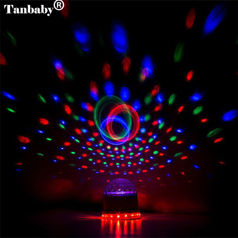 Tanbaby 10W 48LED RGB Sound Actived Auto DMX Mini Rotating Magic Disco Ball Stage Light PAR Party Lights for DJ Dancing XMAS KTV led par stage light dj disco with music activated auto run and dmx512 control mode different colors combinations of rgb rotating