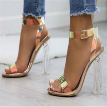 Buckle Sandals Shoes Strappy Clear High-Heels Transparent Simple-Style Wearing Celebrity