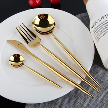 KuBac Hommi 24Pcs Shiny Dinnerware Set 18/10 Stainless Steel Smooth Cutlery Set Western Tableware Dinnerware Set Drop Shipping