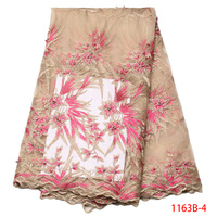 French Lace Fabric Pink High Quality African Net Lace With Bead Tulle Nigeria Lace Embroidered Party