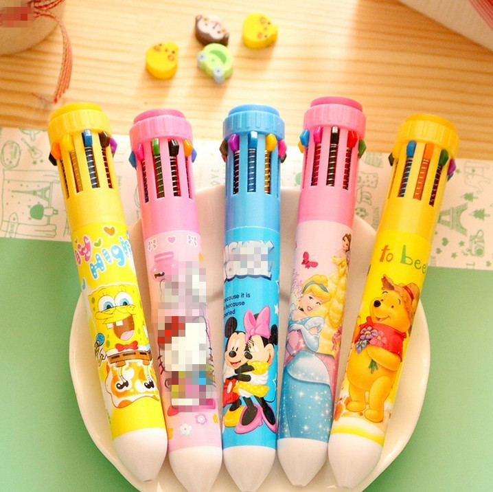 12PCS Kids happy birthday party favor spiderman princess 10 color pen baby shower girl boy baptism gift souvenir in Party Favors from Home Garden