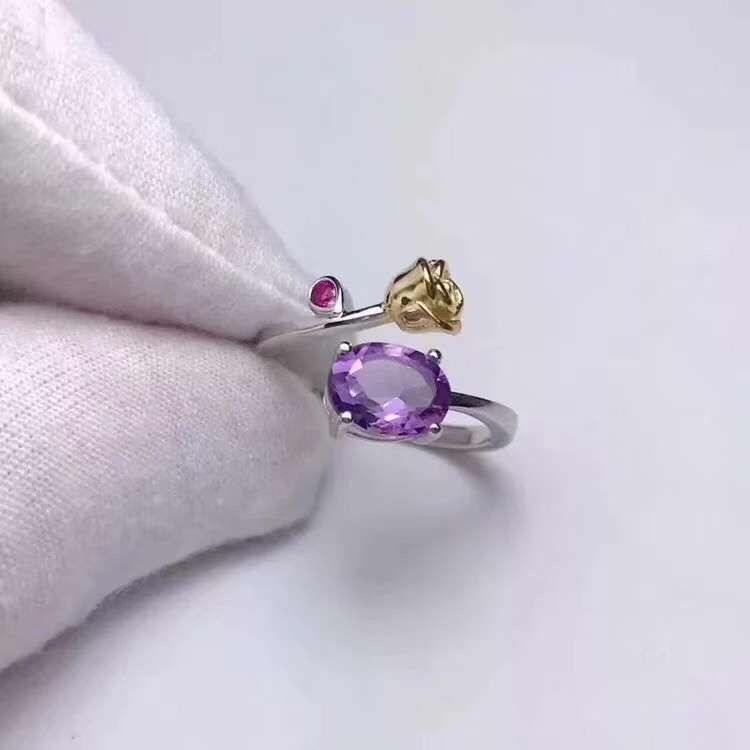 Natural real amethyst ring 925 sterling silver 6*8mm gemstone For men or women rings Fine jewelry natural real amethyst ring 925 sterling silver 6 8mm gemstone for men or women rings fine jewelry
