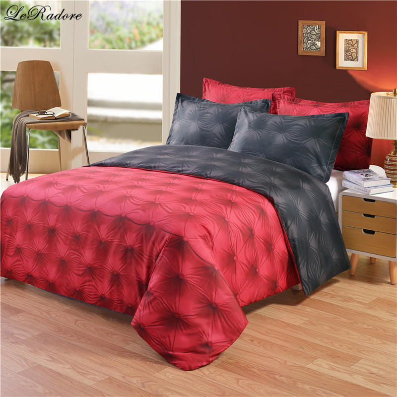 Hot 3D Buttons Pattern Bedding Sets AB Side Black Red Tencel Cotton Duvet Cover Set US Twin Queen King Size Bed Linens On Sale