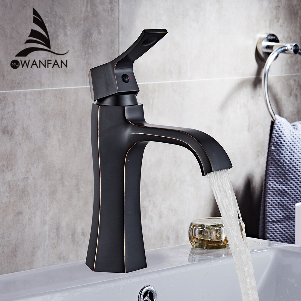 Basin Faucets Black Painted Sink Mixer Tap Fashion Style Single Lever Single Hole Deck Mounted ORB Crane for Bathroom WF-55803 black oil rubbed dolphin model style bathroom basin mixer tap single hole deck mounted dual handles vessel sink faucets wnf314