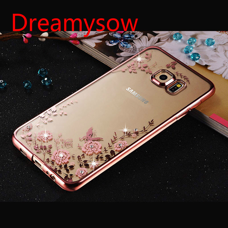 Transparent Soft TPU Plating Rhinestone Flower Case For Samsung Galaxy A3 A5 A7 2016 A8 A9 J3 J5 J7 S3 S4 S6 S7 S6 S7 Edge Plus