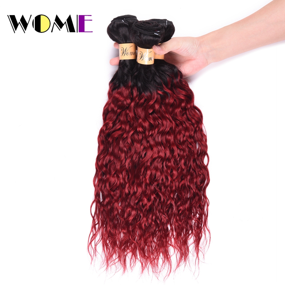 Wome Hair Indian Water Wave Bundles 100% Human Hair Non Remy Human Hair Extensions 3 PCS 1B/Burgundy Red Water Wave Bundles