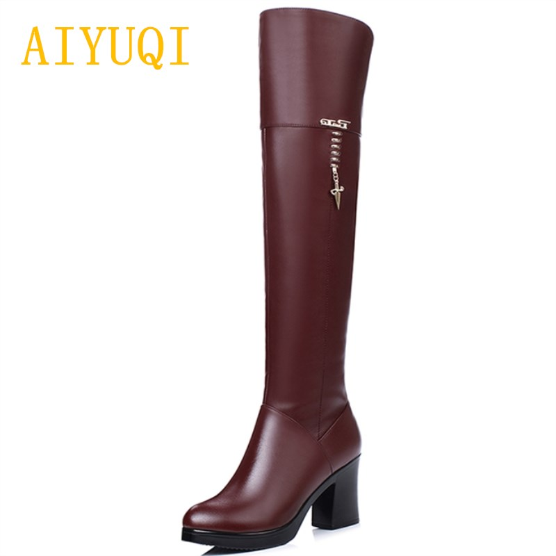 AIYUQI 2019 new genuine leather wedding boots for women red black ladies knee high boots fashion
