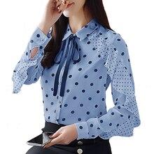 Womens Shirt Wave Print Bow Chiffon Blouse Slim Female Spring Fashion Long Sleeve Shirts Blusas Mujer De Moda 2018