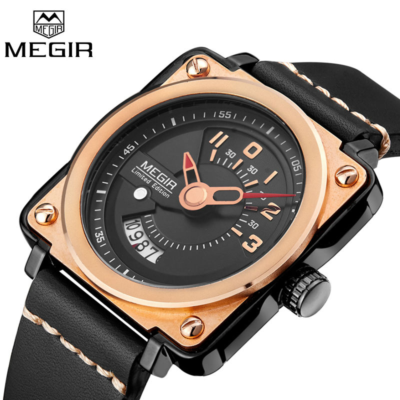 цена MEGIR Men Watch Top Brand Luxury Male Leather Square Gold Quartz Watches Man Chronograph Military Wrist Watch Men Clock Relogio