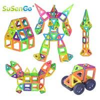 SuSenGo גודל גדול 68/89/102 יחידות אבני בניין מגנטי DIY ערכות מעצב עם דגם המכונית גלגל הענק לילדים צעצועי יום הולדת מתנה