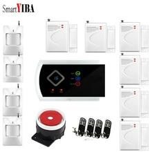 SmartYIBA Russian Spanish Italian French Wireless Home Security GSM Alarm System Intruder Alarm Sensor Detector APP