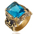 Mens Crystal Stainless Steel Ring, Gothic Dragon Claw, light Blue Gold