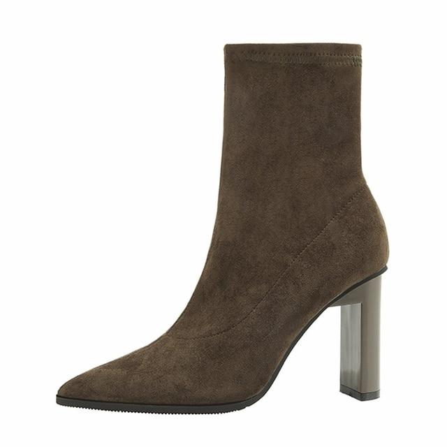 {D & Henlu} tacón grueso de la mitad de la pantorrilla botas de invierno zapatos mujeres botas de gamuza tacones desliz en Punta dedo del pie