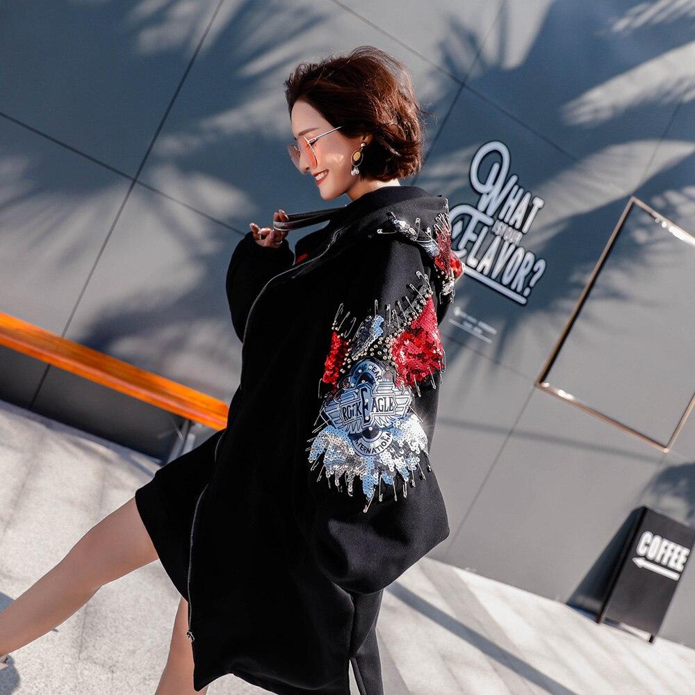 Femmes Oversize À Manteau Coton Capuche Noir Poches Chaud D'hiver Rivet Outwear Manteaux Veste Mumuzi Vintage SYFHwnq6F